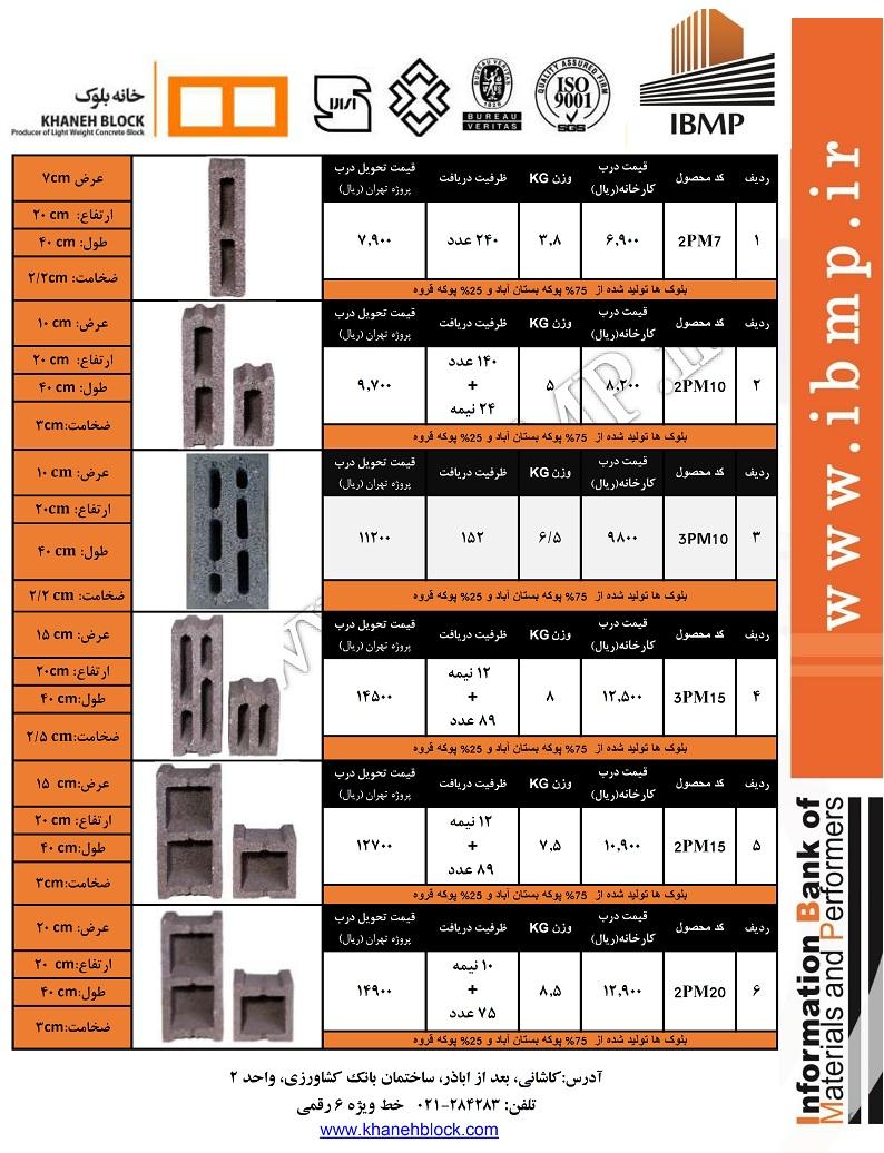 بانک اطلاعات مصالح و مجریان ساختمانی | لیست قیمت بلوک سبک سیمانیلینک سایت: www.khanehblock.com